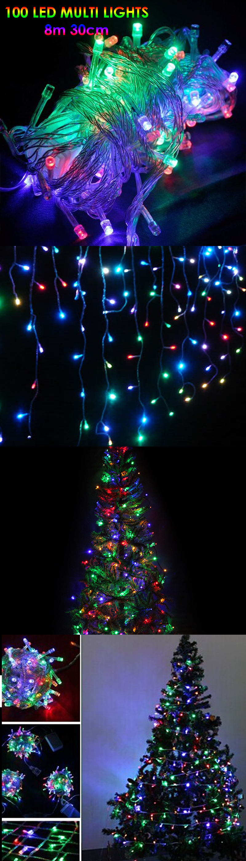 8m 100 LED Electric String Fairy Lights Christmas Tree Deco Party Garden colour