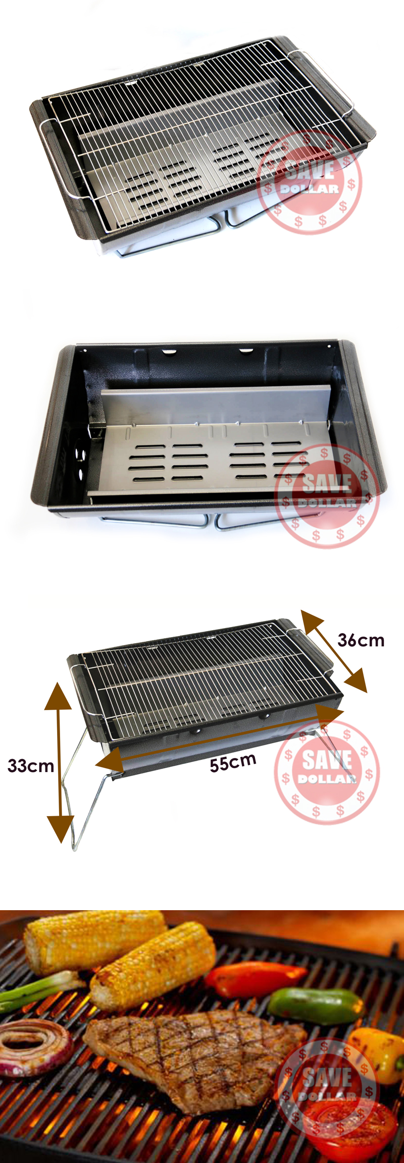 Charcoal Bbq Grill Portable Outdoor Barbeque Stainless Steel Barrel Camping Ebay